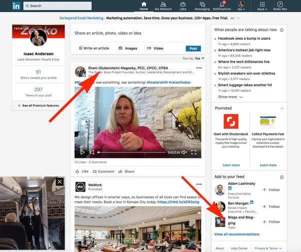 What does found you via homepage mean on Linkedin