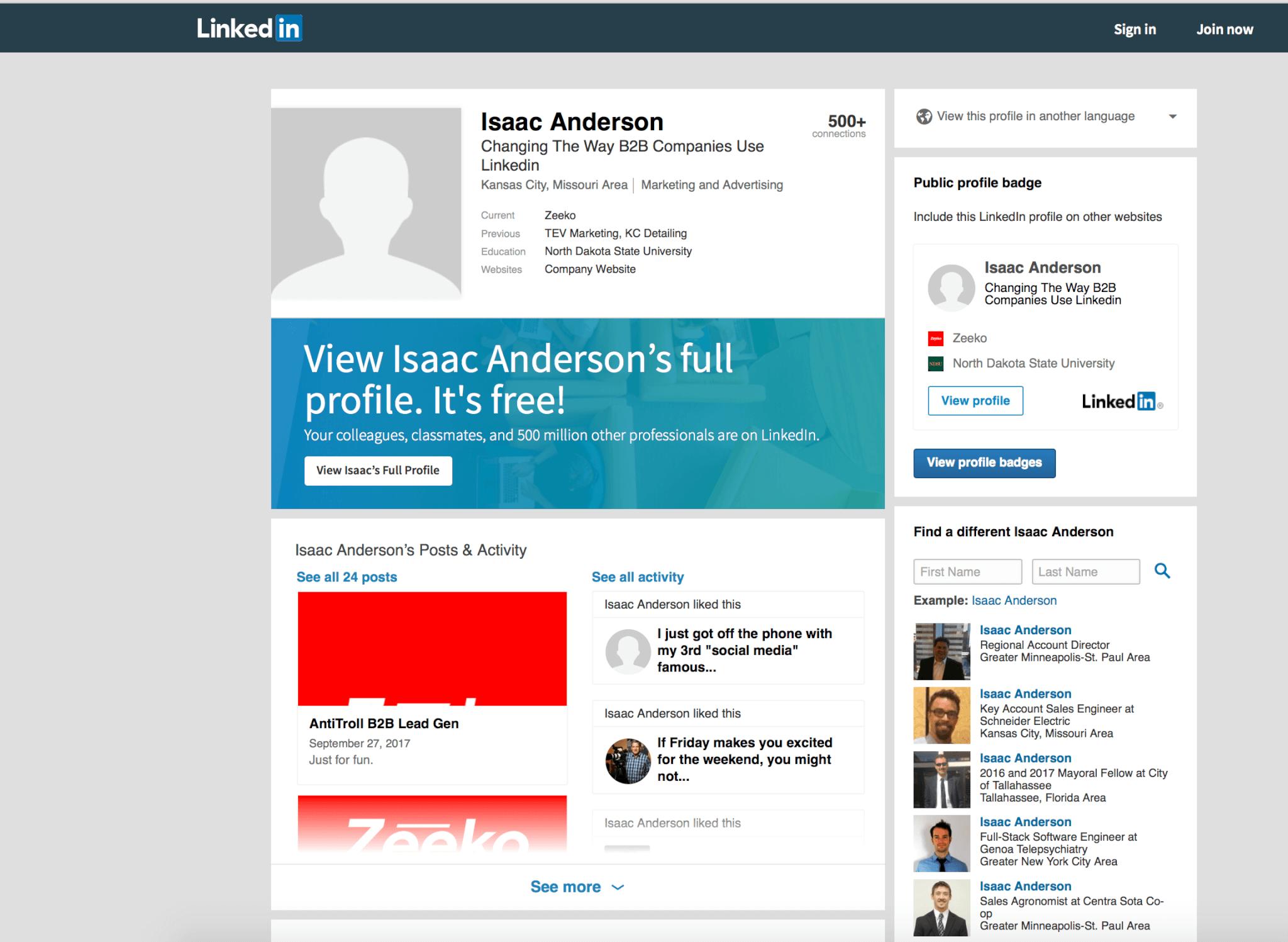 Zeeko -  viewing Linkedin profiles anonymously