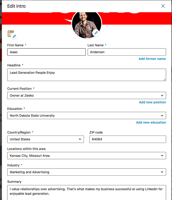 Zeeko - editing profile summary part 3