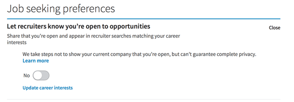 Zeeko - job seeking preferences on Linkedin