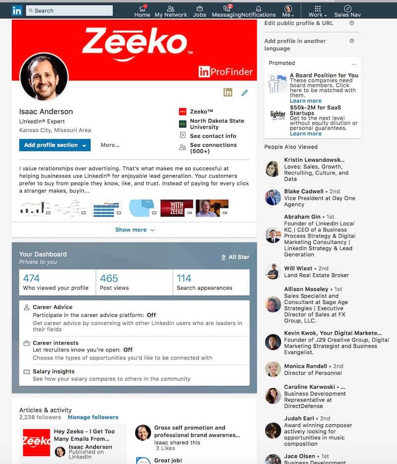 What does found you via Linkedin Profile Mean - profile examples - Zeeko- Linkedin Experts