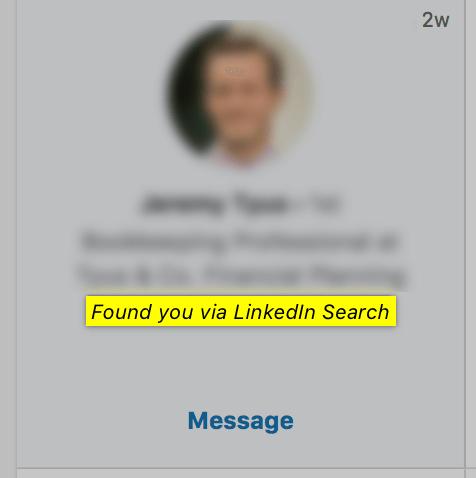 What does found you via Linkedin Search mean - screenshot example - Zeeko - Linkedin Experts