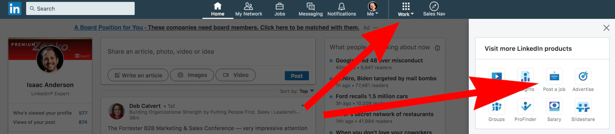How to post a job on Linkedin - finding the post a job icon in Linkedin