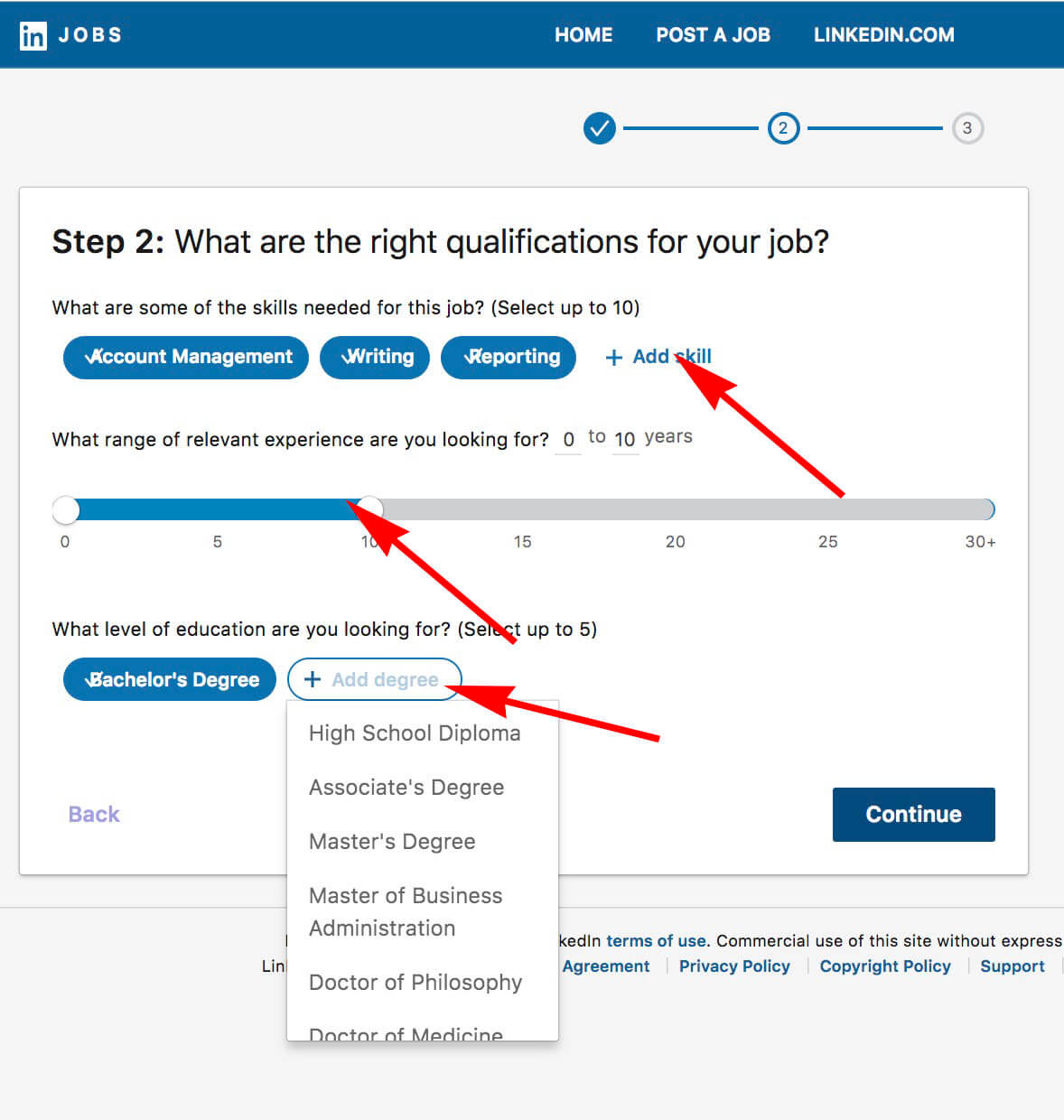 How to post a job on Linkedin - Choose hiring qualifications