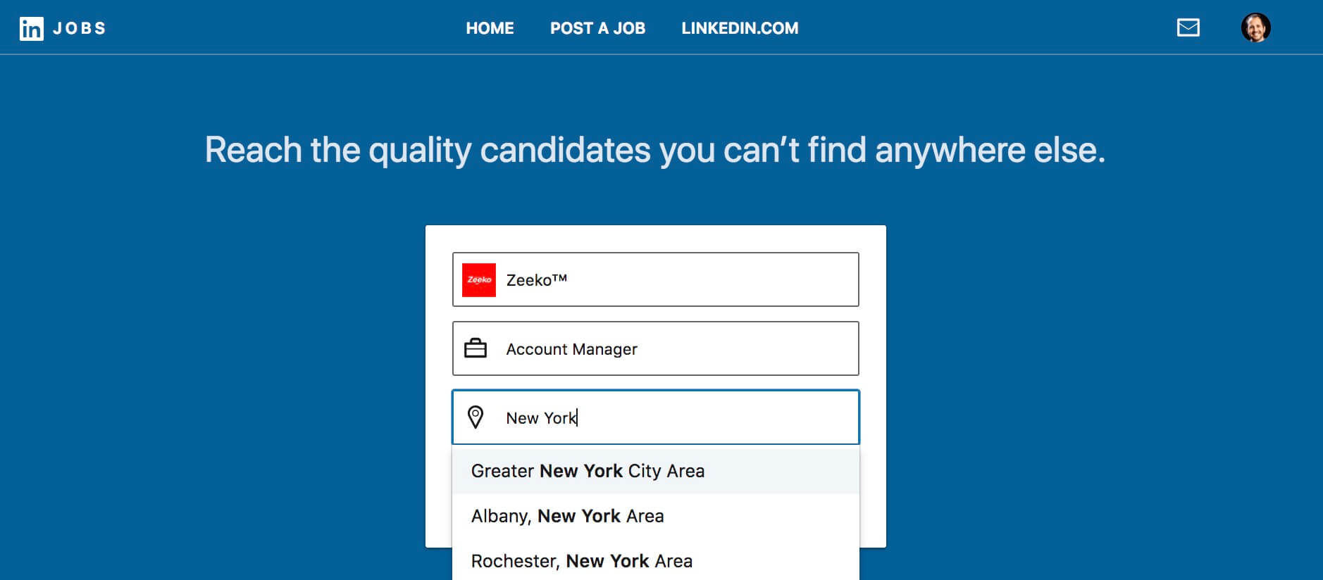 How to post a job on Linkedin - choose your city