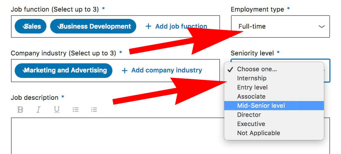 How to post a job on Linkedin - choose employment type and seniority level
