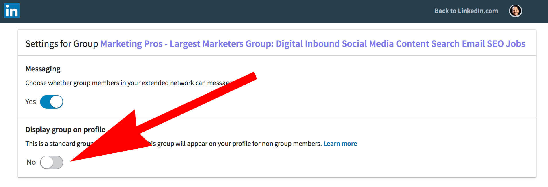 How to update and remove interests on Linkedin - group settings off