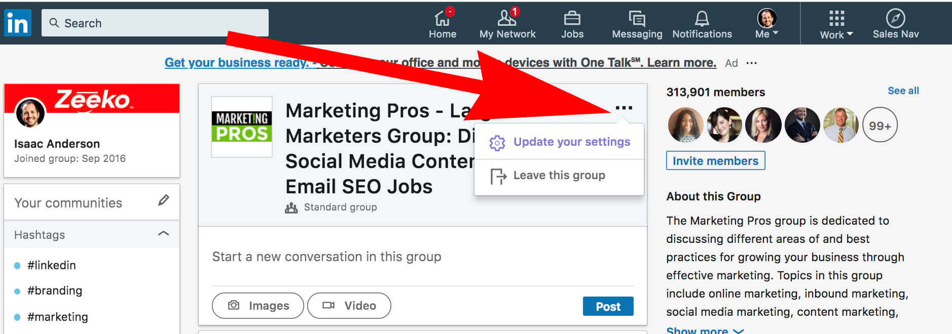 How to update and remove interests on Linkedin - group settings