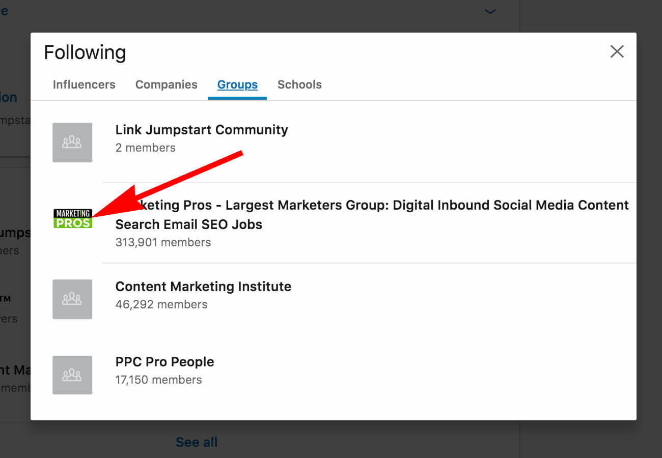 How to update and remove interests on Linkedin - groups