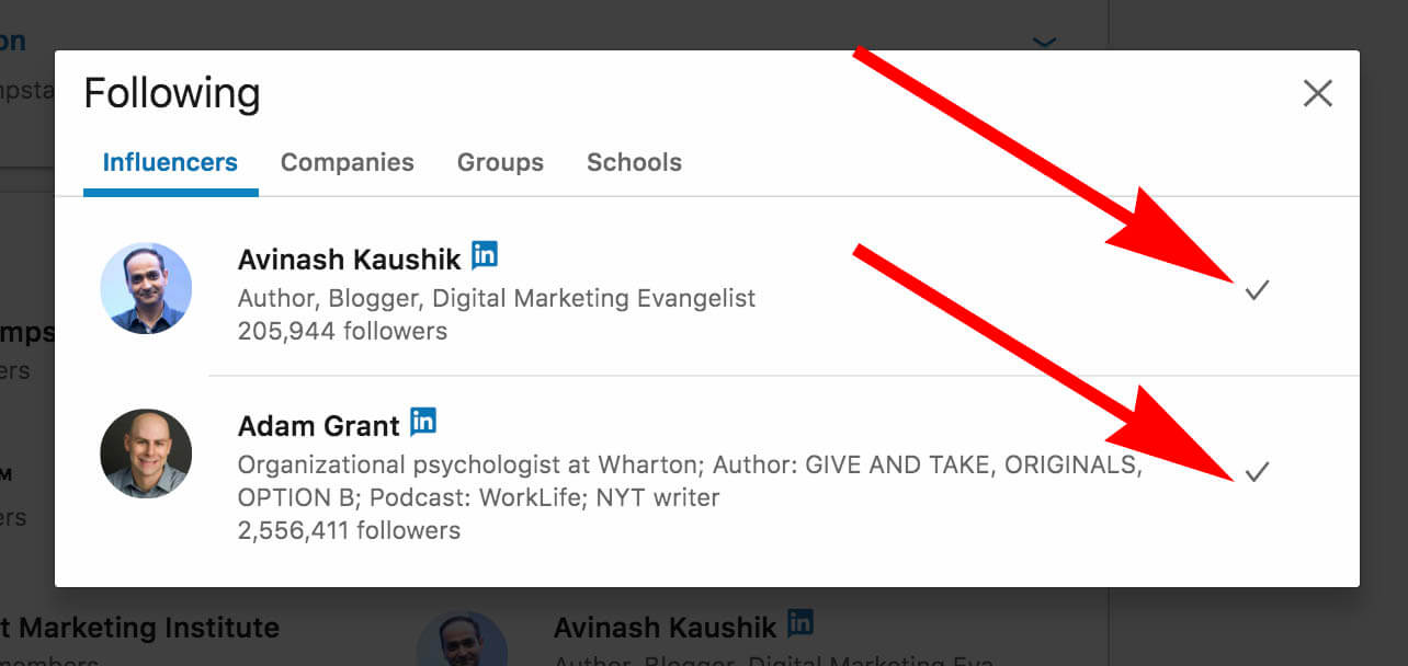 How to update and remove interests on Linkedin - influencers