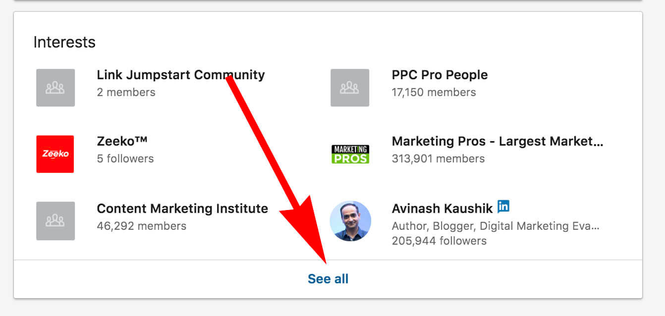 How to update and remove interests on Linkedin - see all interests