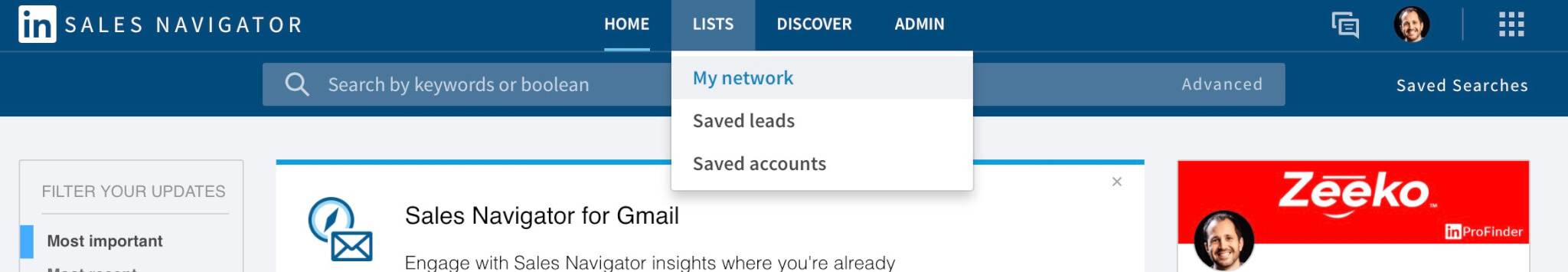 What does found you via My Network on Linkedin mean? Finding my network on sales navigator