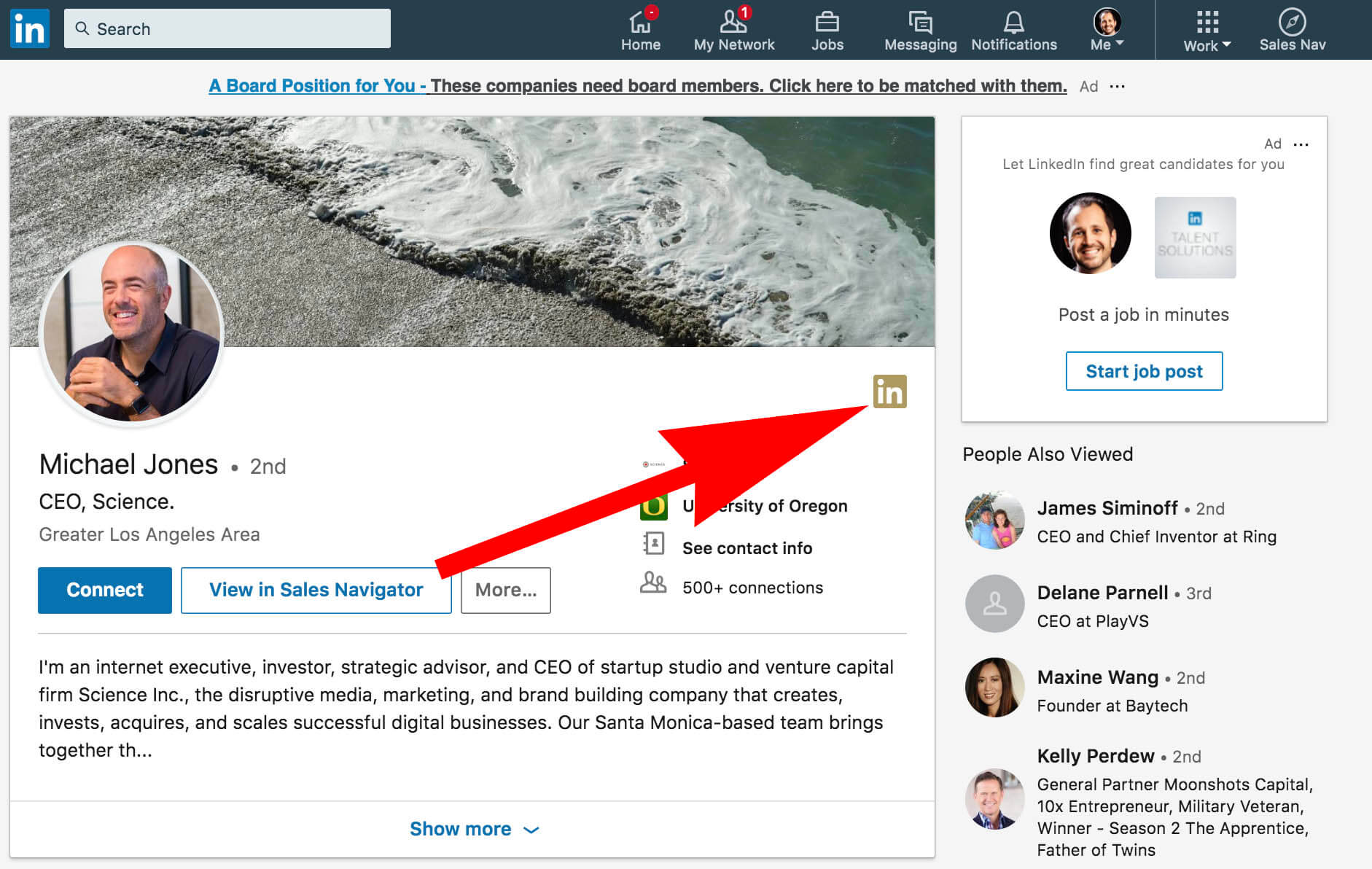 What does the gold symbol on Linkedin mean - basic example