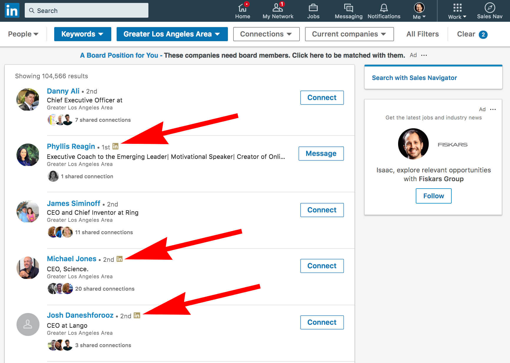 What does the gold symbol on Linkedin mean - basic search