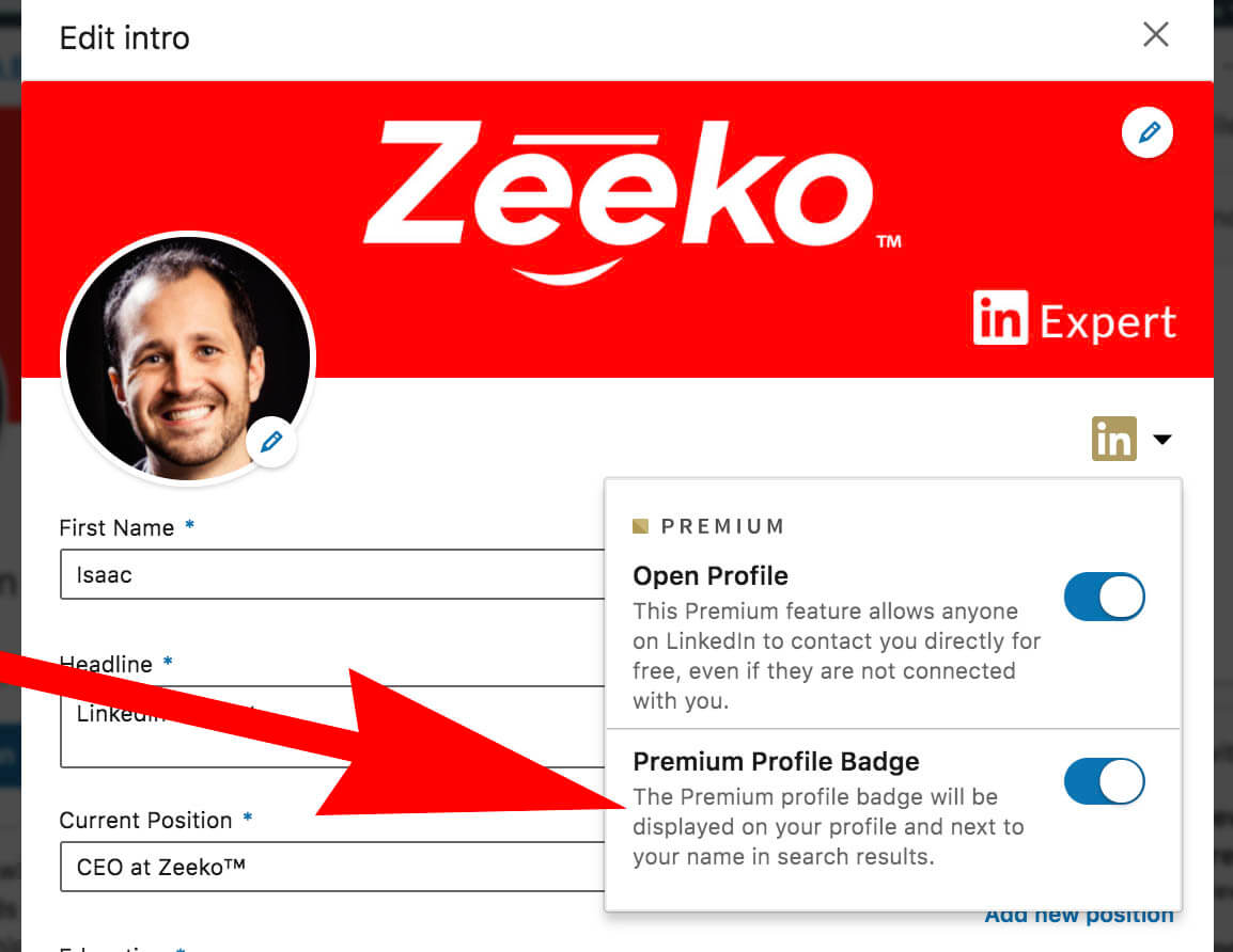 What does the gold symbol on Linkedin mean - profile editing