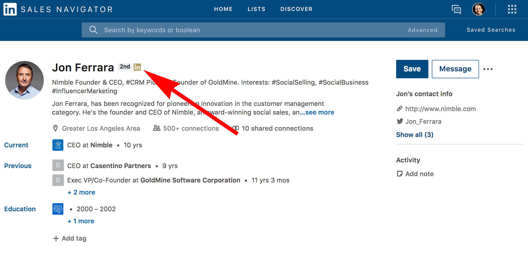 What does the gold symbol on Linkedin mean - sales navigator example