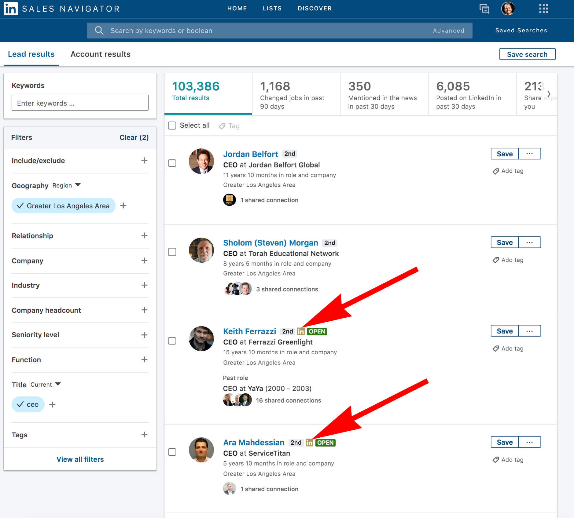 What does the gold symbol on Linkedin mean - sales navigator serach