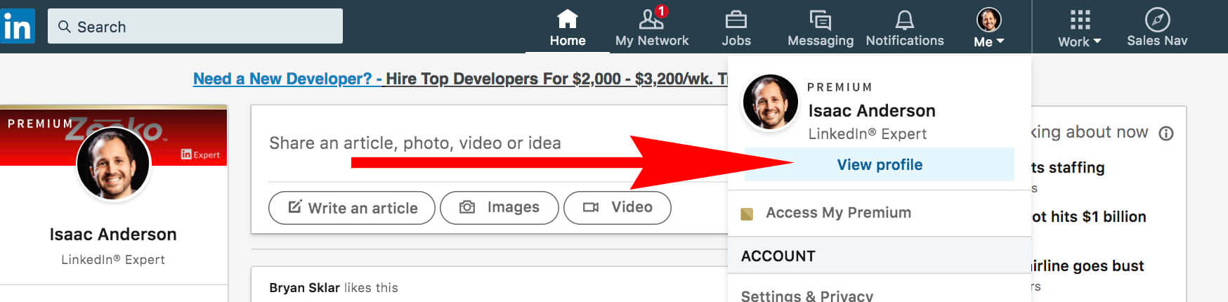 What does the gold symbol on Linkedin mean - view profile