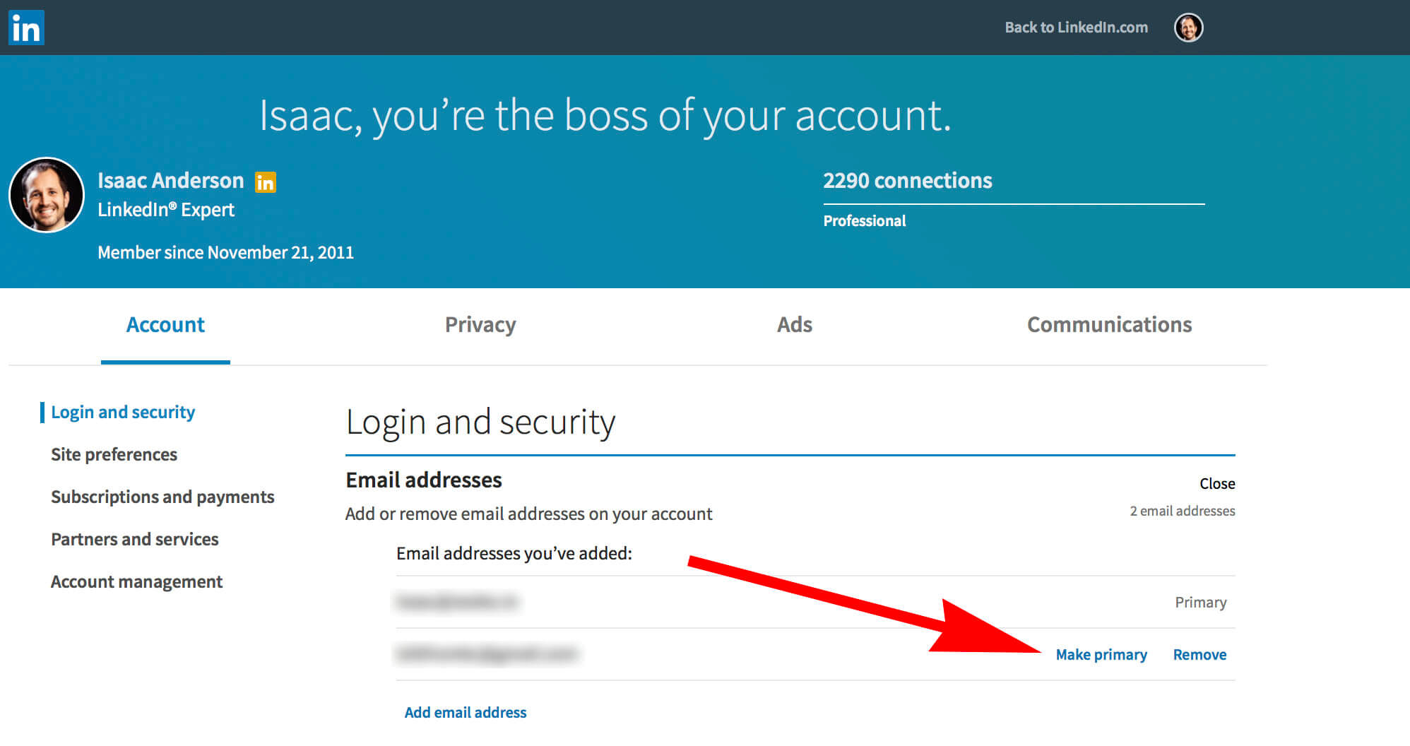 How to change your email on Linkedin - setting primary email