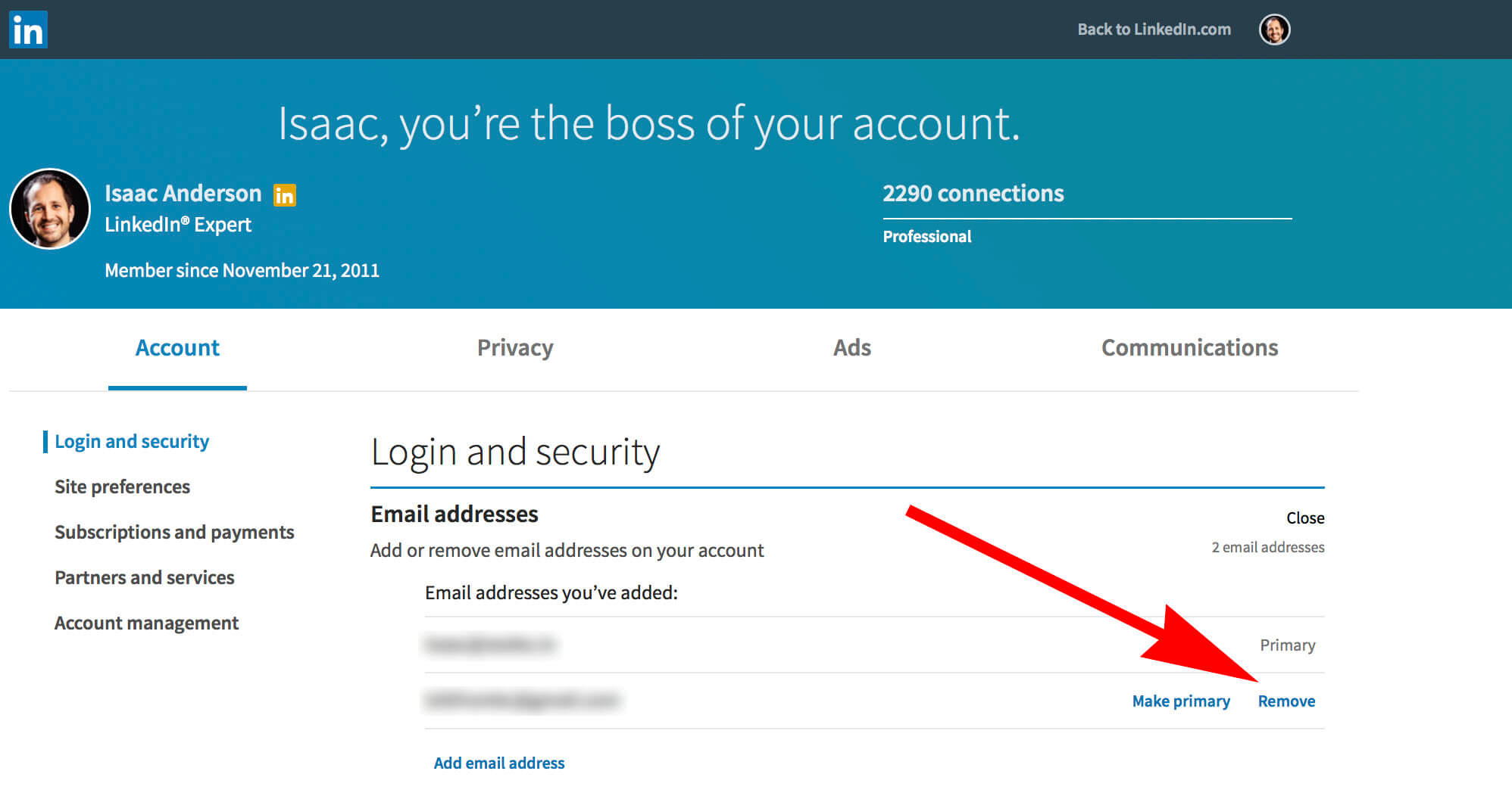 How to change your email on Linkedin - removing email