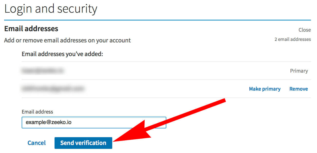 How to change your email on Linkedin - sending verification code
