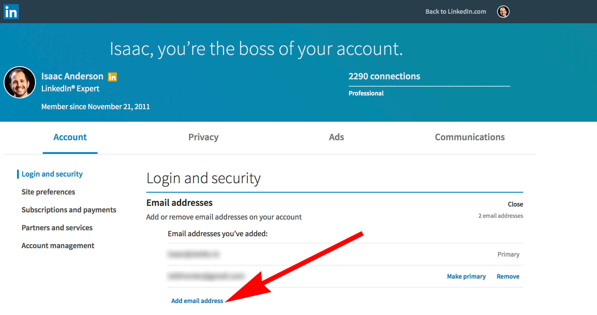How to change your email on Linkedin - adding new email location