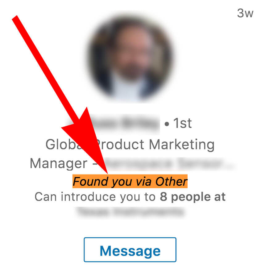 Linkedin - what does found you via other mean on Linkedin