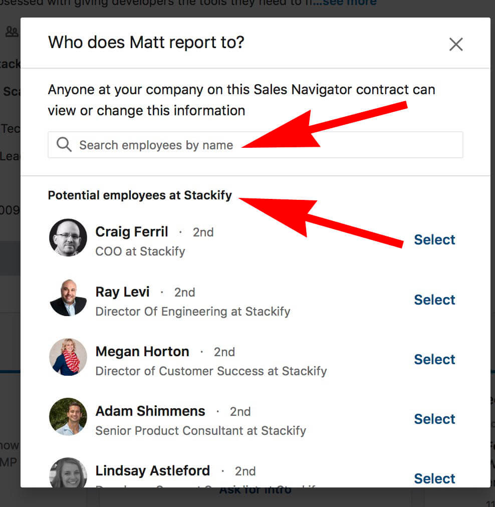What does add manager and reports to mean on Linkedin - searching for manager