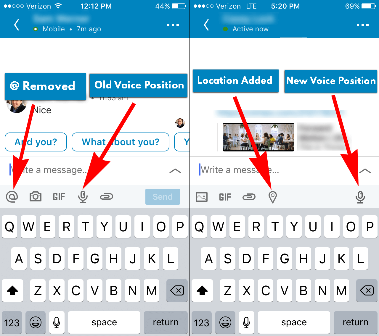 Linkedin location sharing - new features - Before and After