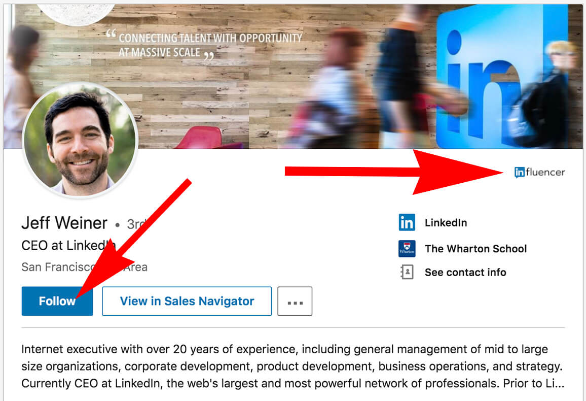 Linkedin - How To Follow Someone - influencers