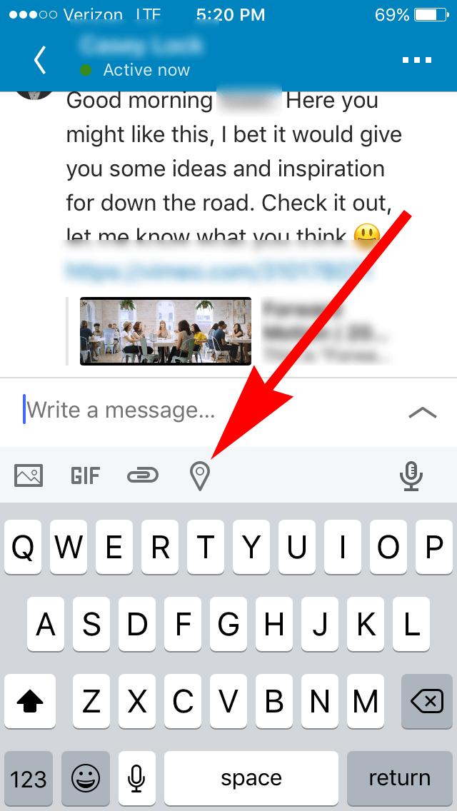 Linkedin - Location Sharing in Messaging - 01