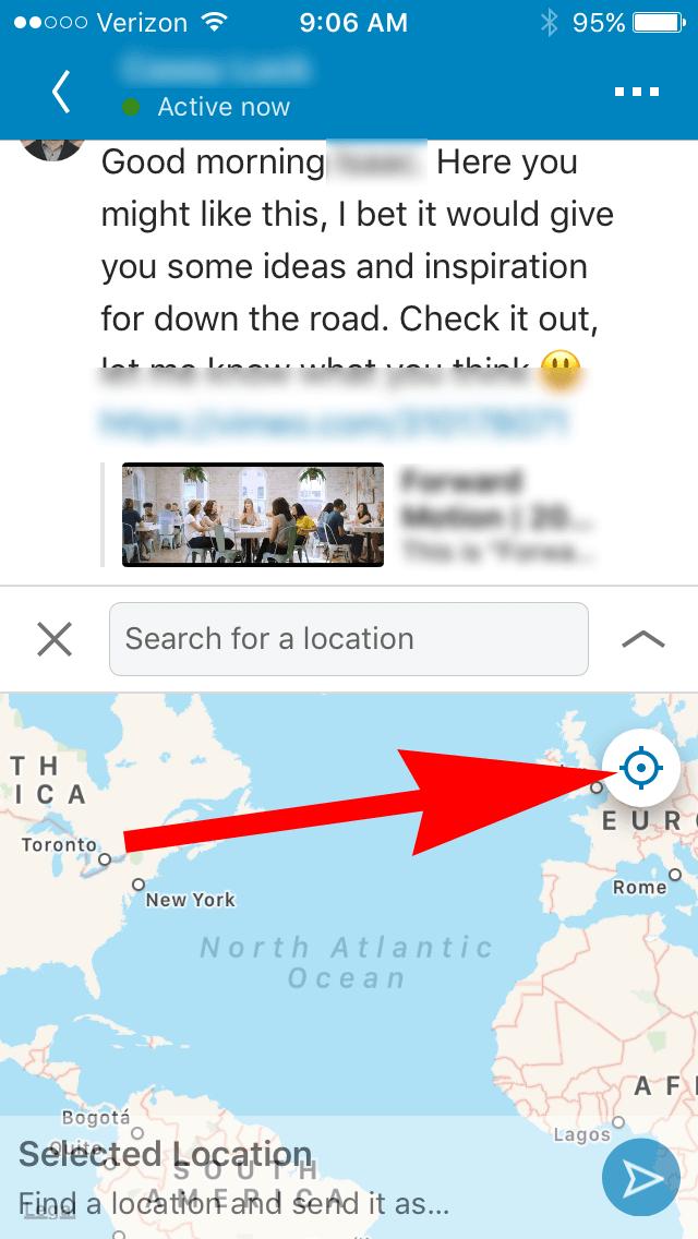 Linkedin - Location Sharing in Messaging - 02 - share location