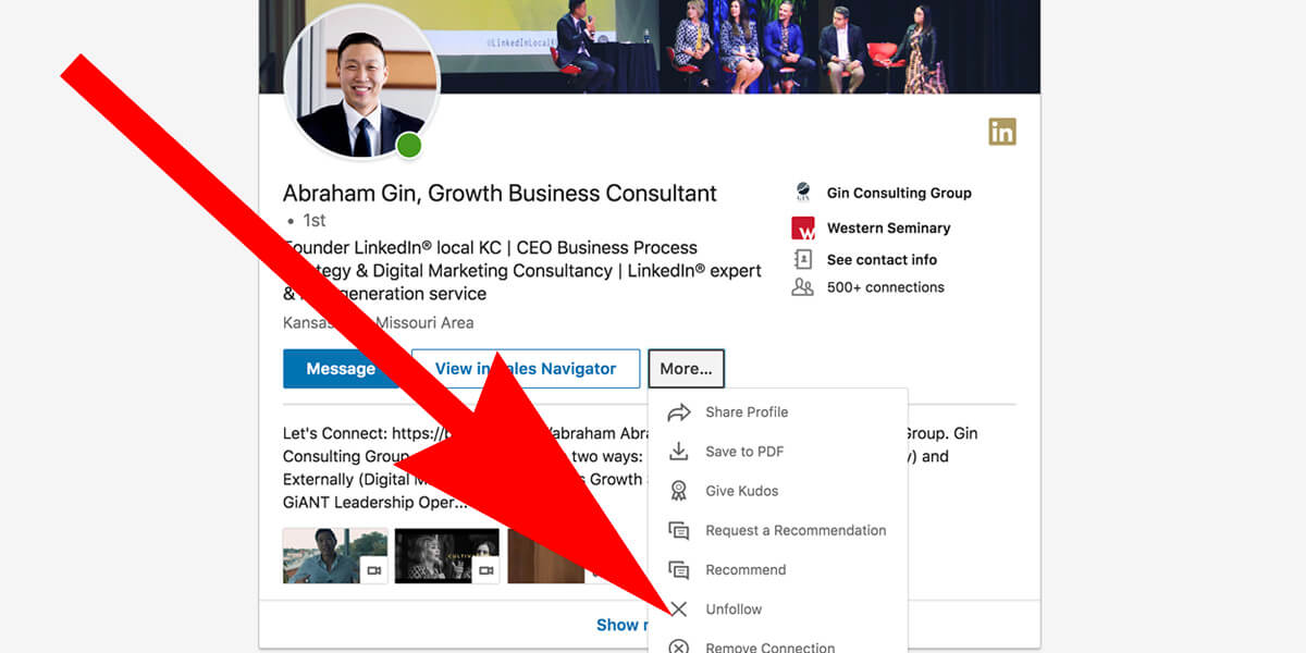 Linkedin how to unfollow someone
