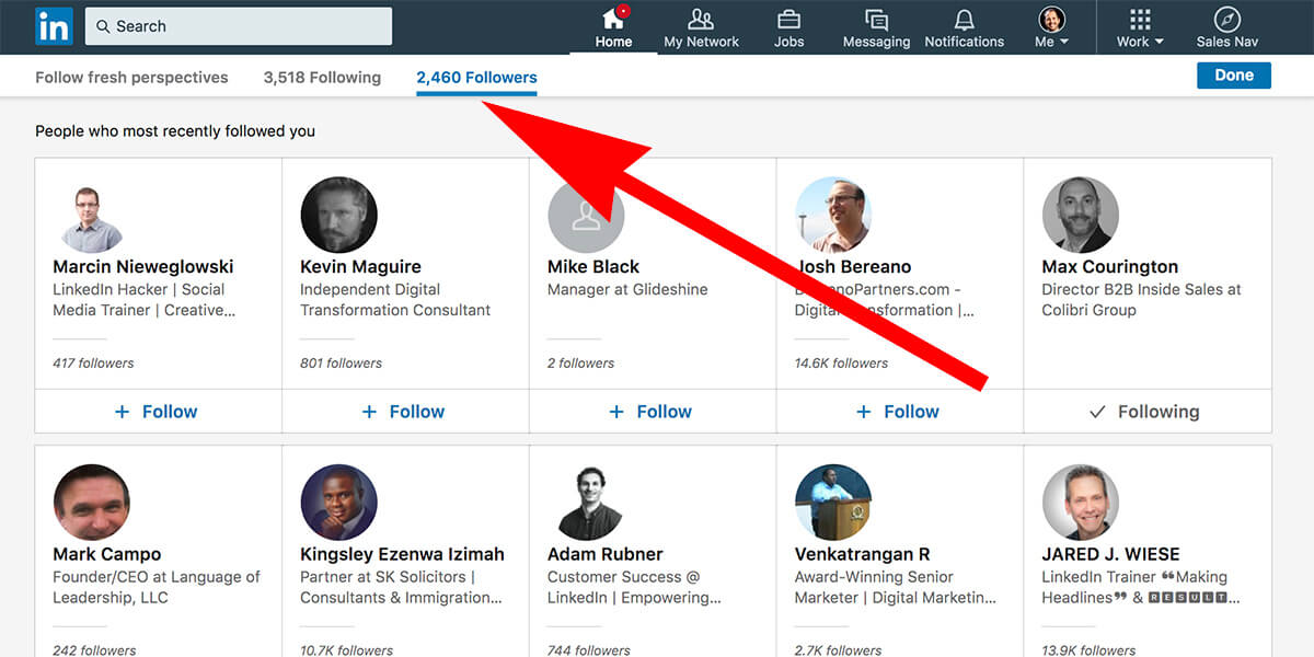 Linkedin see who is following you