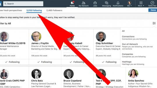 Linkedin see who you are following