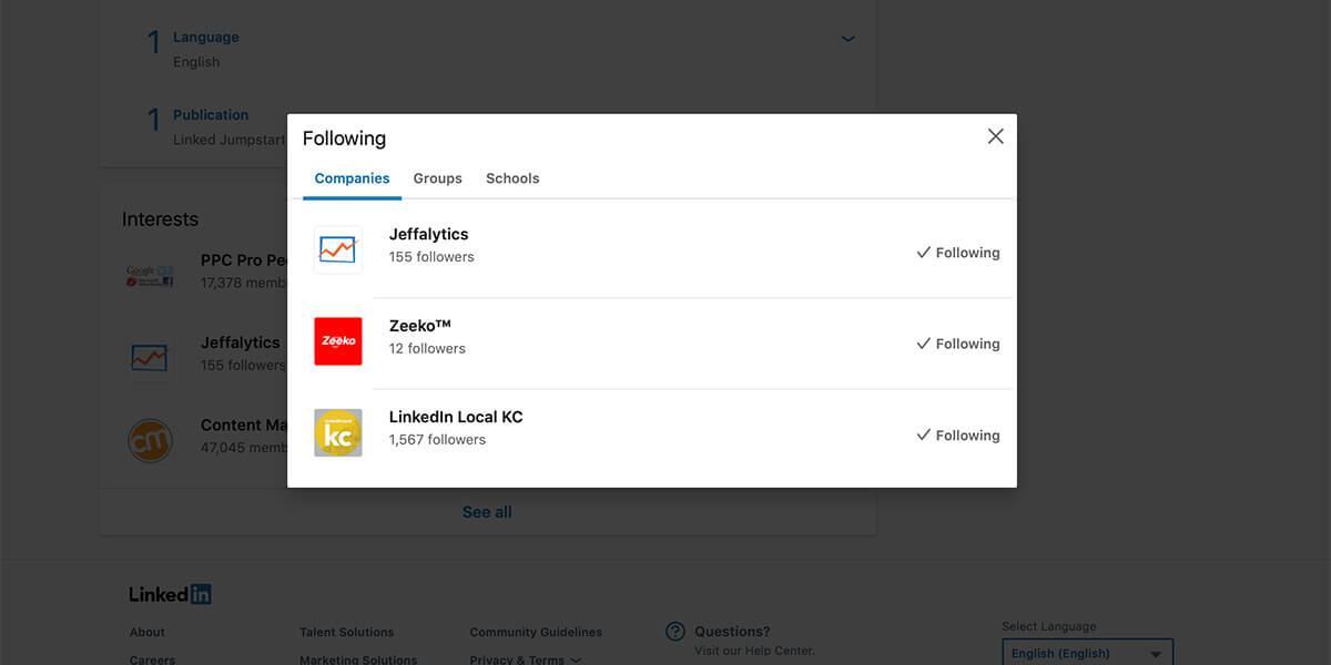 Linkedin - how to add interests