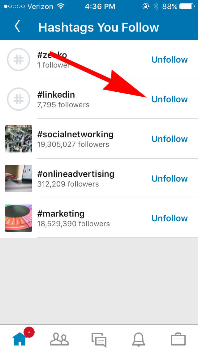 unfollow linkedin hashtags on mobile device