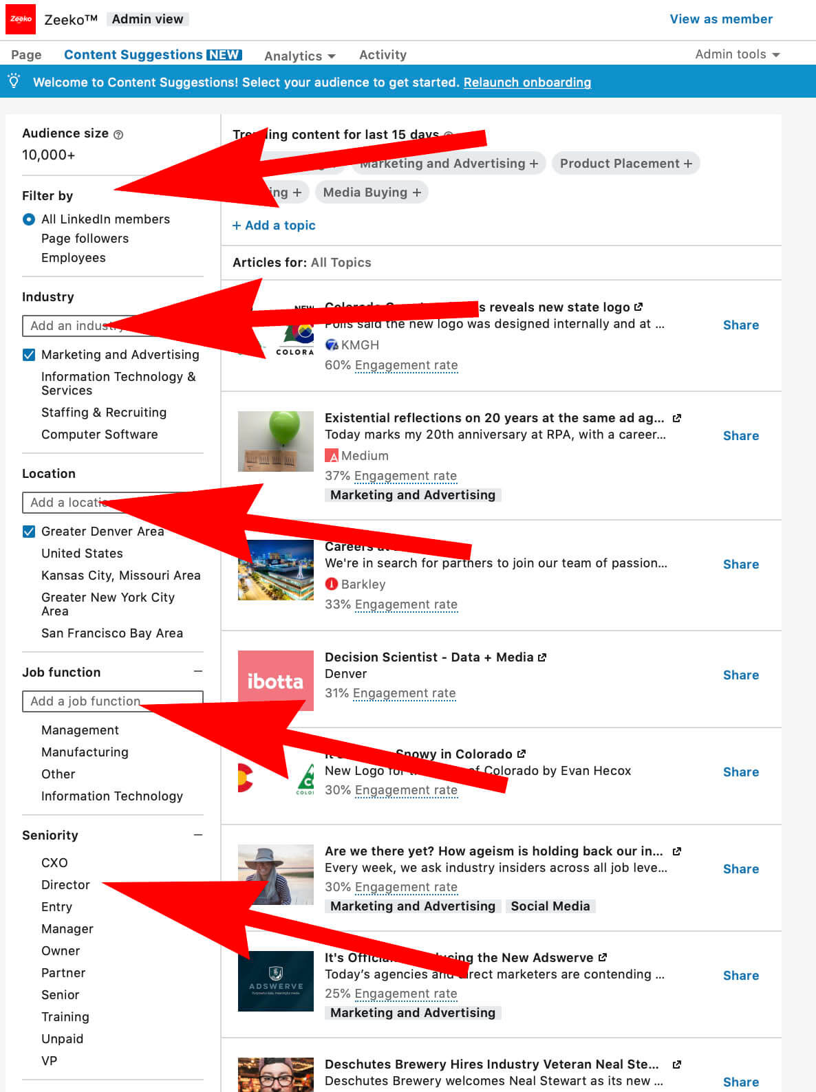 Content filters available on Linkedin pages content suggestions
