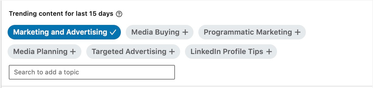 Linkedin content suggestions - topic selected