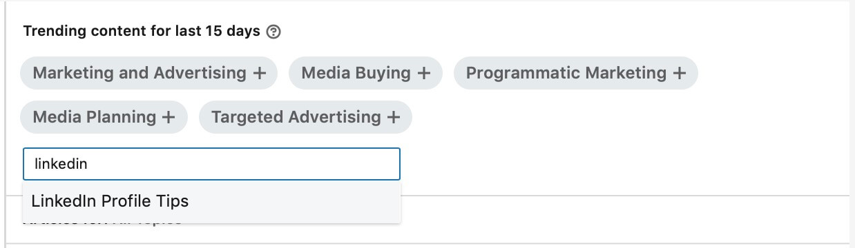 Linkedin content suggestions - Select appropriate suggestion