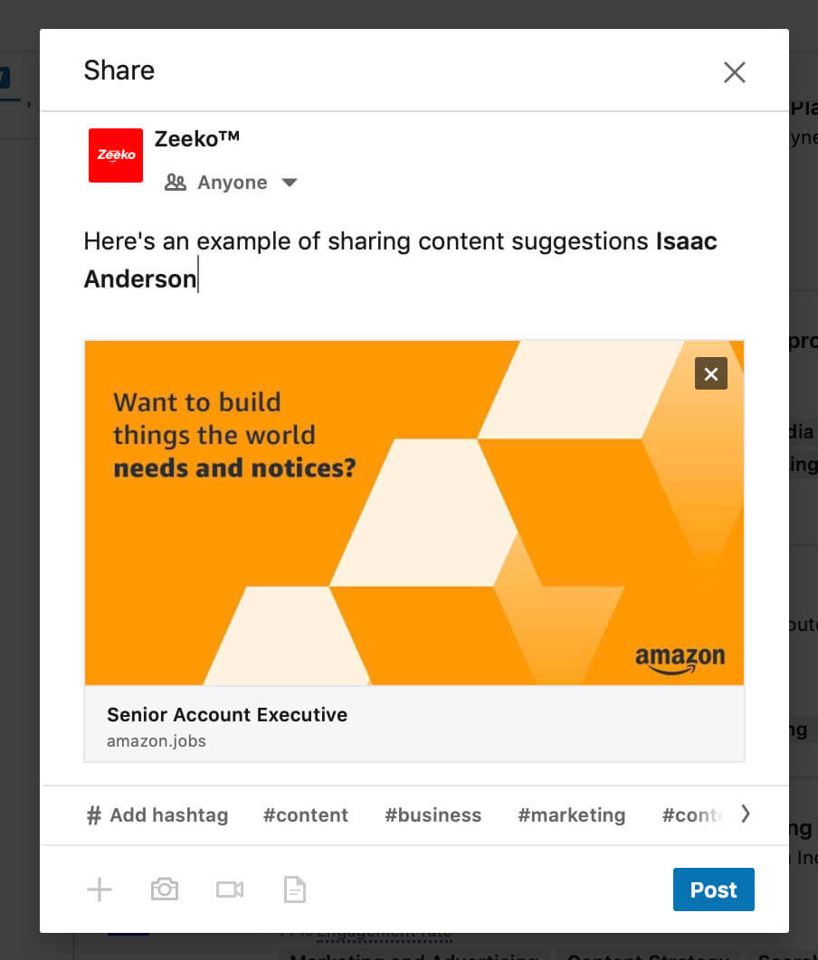 Linkedin content suggestions - Share content and add text