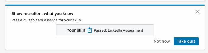 Skill passsed linkedin assessment