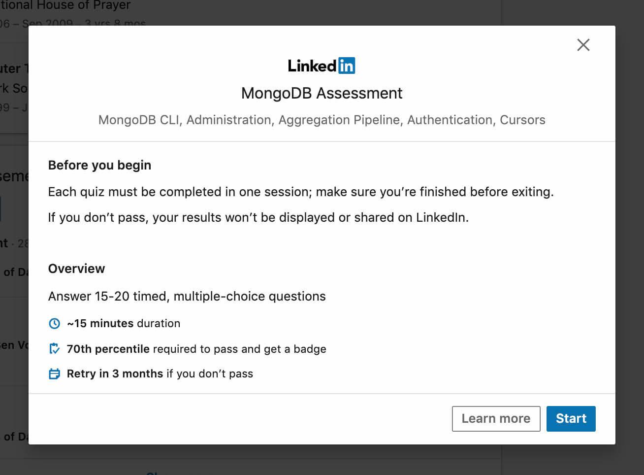 Starting a Linkedin Assessment skill quiz