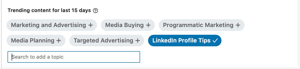 Linkedin content suggestions - Type a suggestion