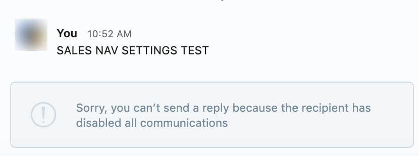 Recipient has disabled all communications screenshot