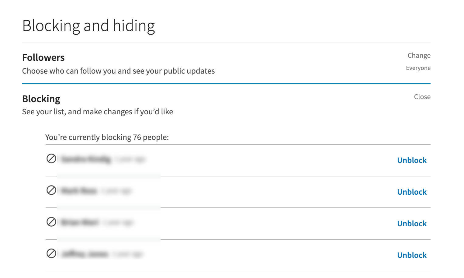 Viewing your blocked list on Linkedin