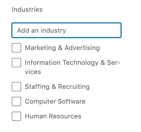 Industry search options on Linkedin Free and Premium Accounts