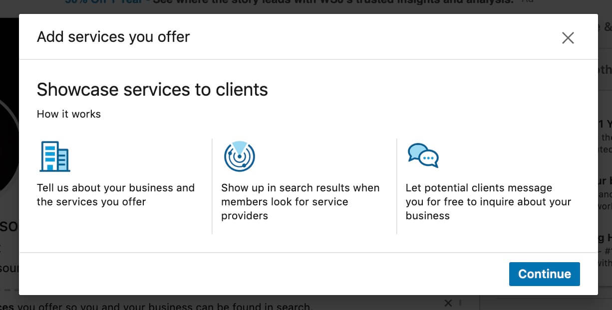 Linkedin Add Business Services to your LInkedin Profile - Showcase services to clients