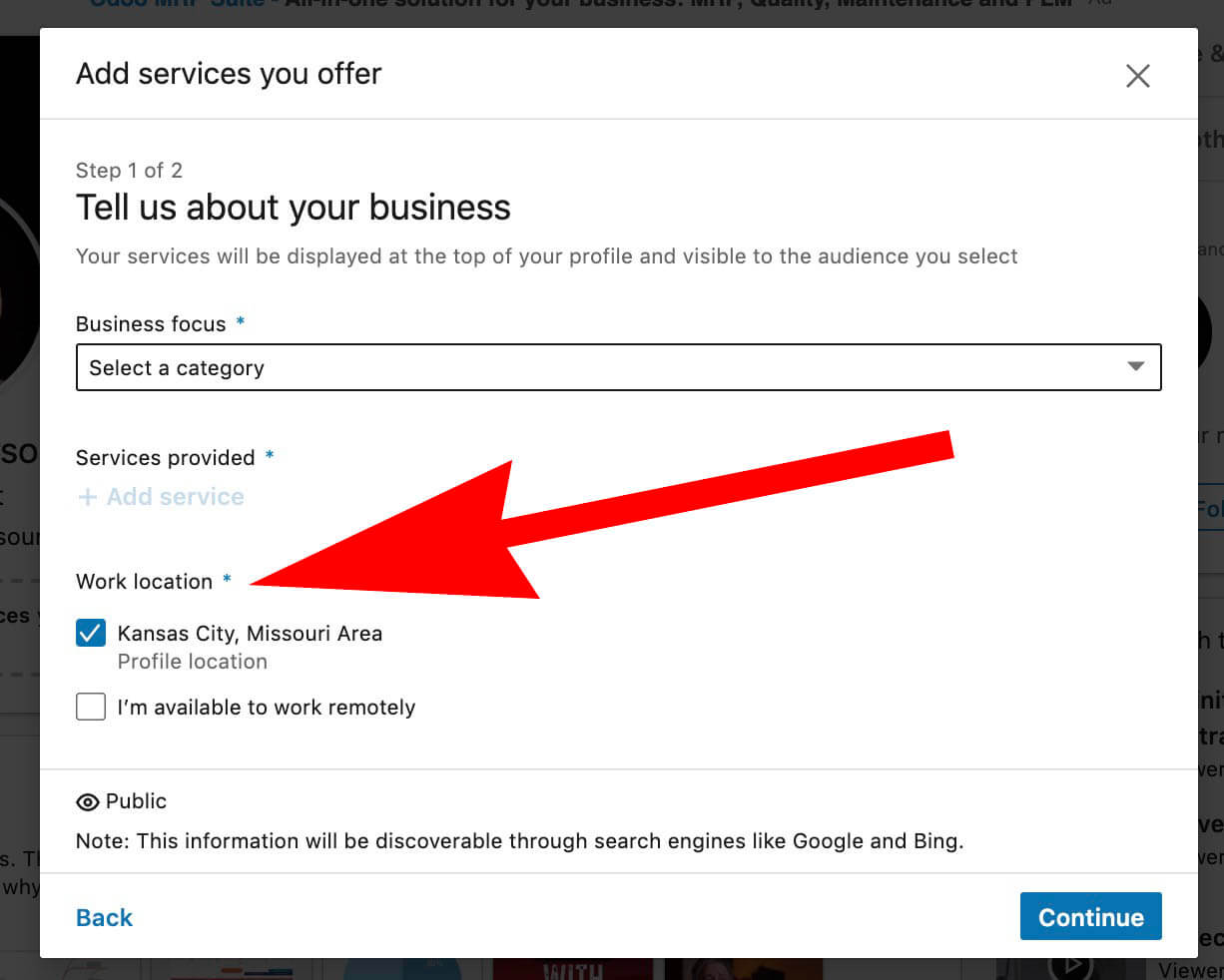 Linkedin showcase services - Add Business Services to your LInkedin Profile - Tell us about your business