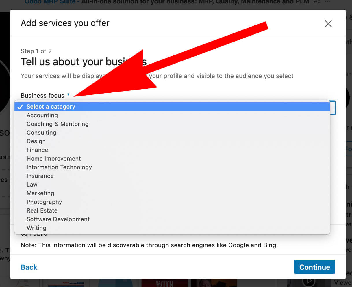 Linkedin Add Business Services to your LInkedin Profile - Select business industry